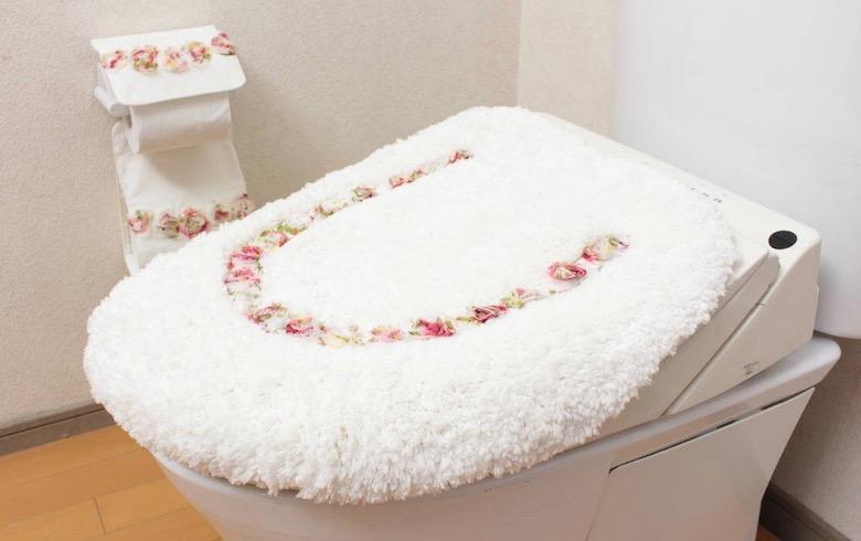 Rose Mousse マイクロファイバー トイレ蓋カバー 約50×52cm