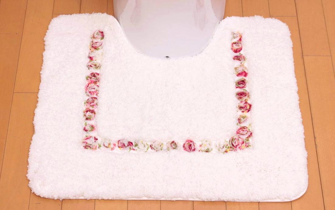 Rose Mousse マイクロファイバー トイレマット 約65×54cm