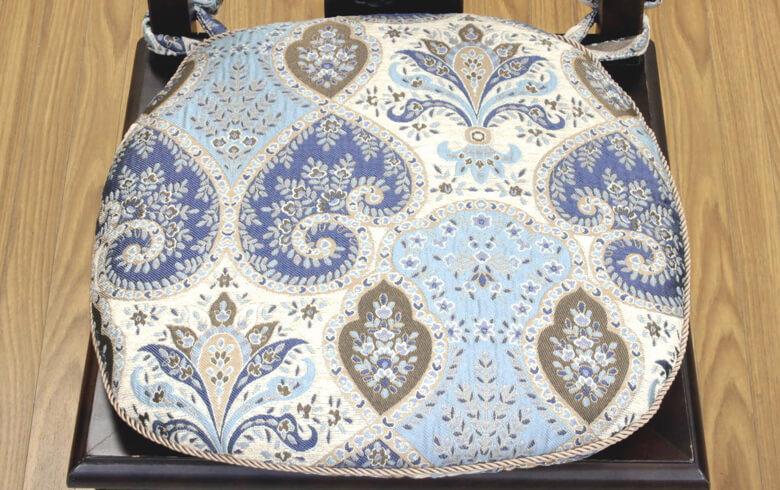 Alva シェニール織 紐付シートクッション 約43×45cm