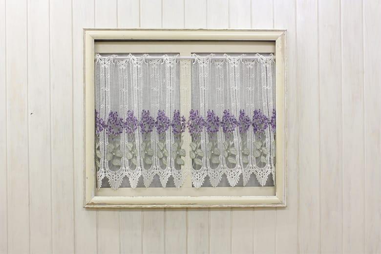 Lilac 総柄レース カフェカーテン 約126×60cm