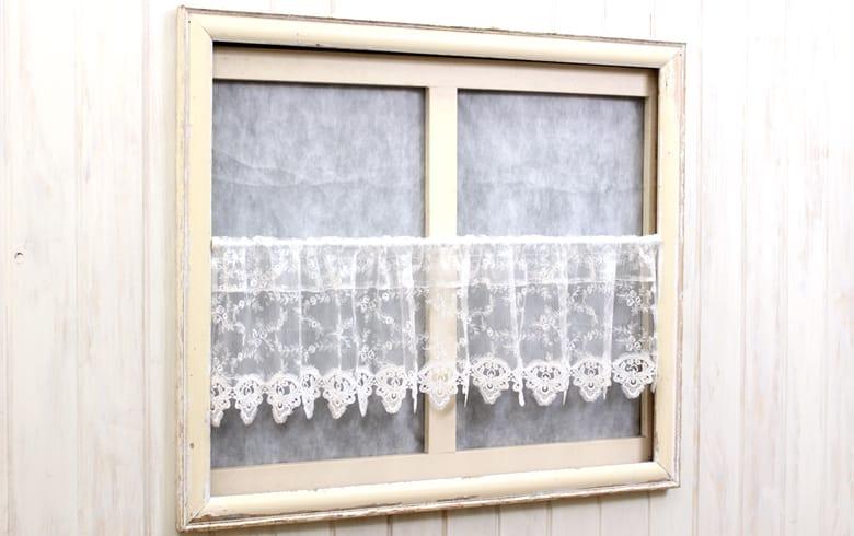 le quartz 刺繍&ギュピールレース カフェカーテン 約135×30cm