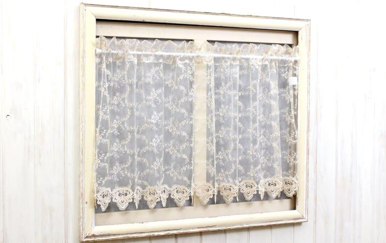 le quartz 刺繍&ギュピールレース カフェカーテン 約135×60cm