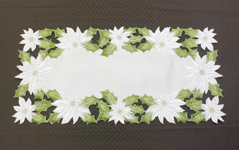 白いポインセチア 刺しゅう テーブルセンター 約20×40cm
