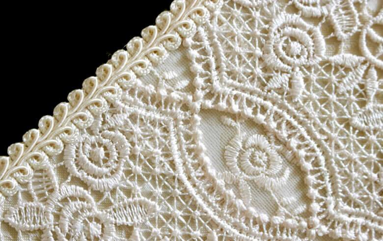 gracieux ローズ柄ジャカード織&ギュピール マルチボックス 約26×31cm