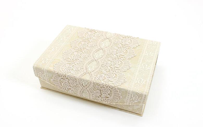 gracieux ローズ柄ジャカード織&ギュピール カルトナージュボックスM 約21×31cm