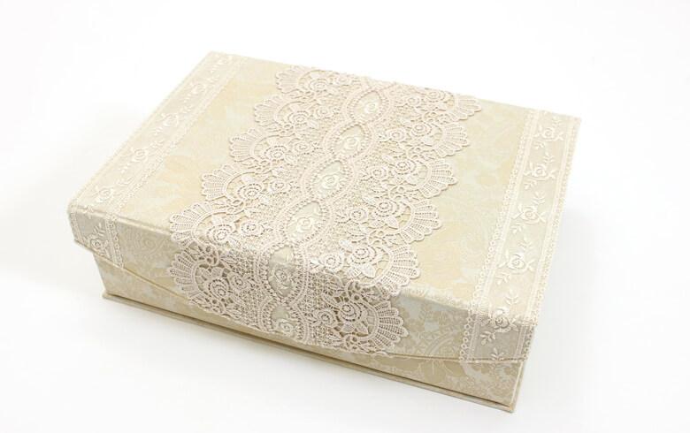 gracieux ローズ柄ジャカード織&ギュピール カルトナージュボックスL 約25×37cm