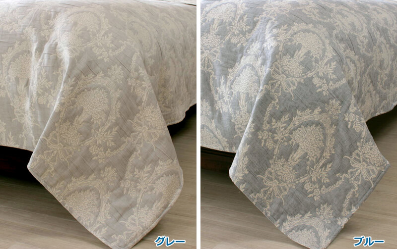 Classical Bouquet 抗菌防臭☆ふくれ織 ベッドカバー 約180×260cm