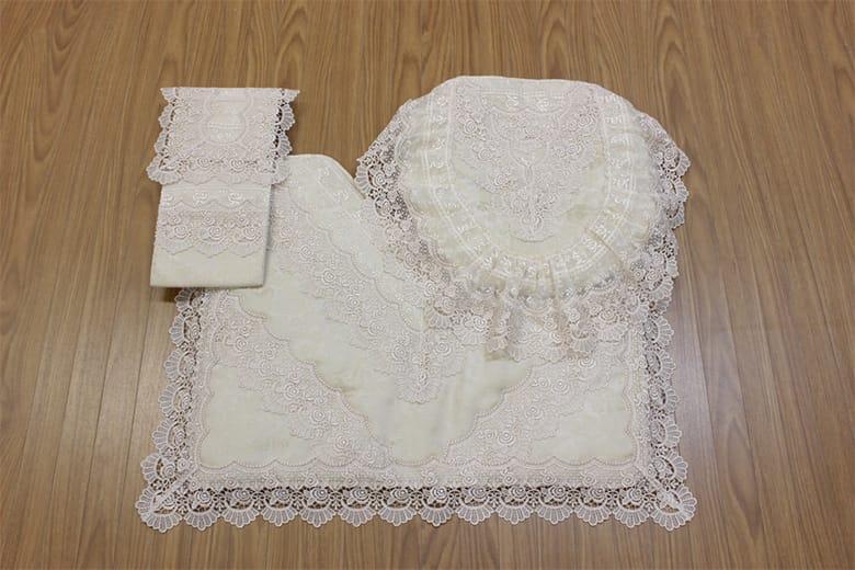 gracieux ローズ柄ジャカード織&ギュピール トイレカバー 約41×36cm