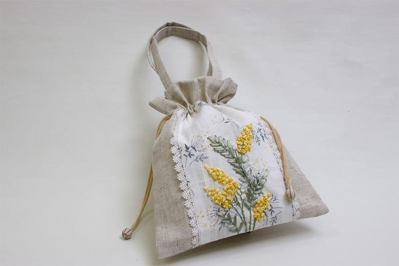 mimosa リボン刺繍 巾着バッグ 約25×29cm