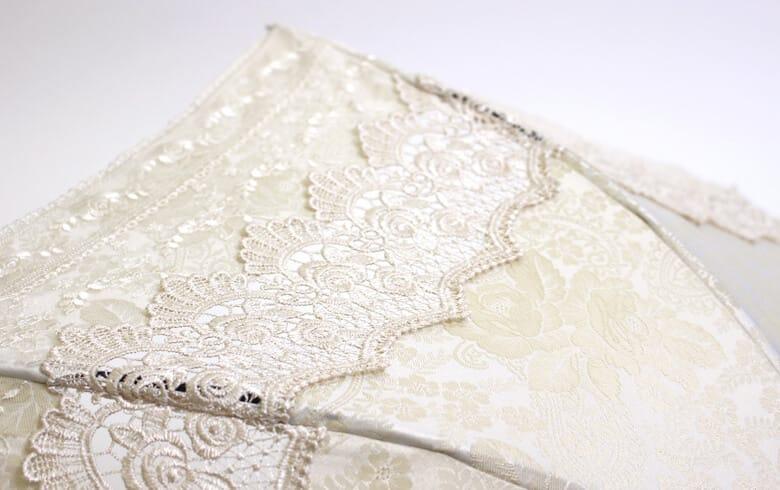 gracieux ローズ柄ジャカード織&ギュピール パラソル 約69×78cm