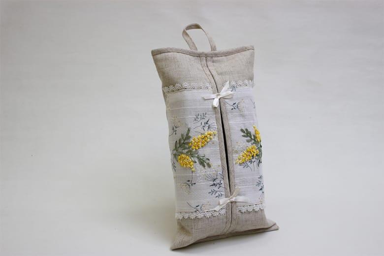 mimosa リボン刺繍 ハングティッシュボックスカバー 約20×35cm
