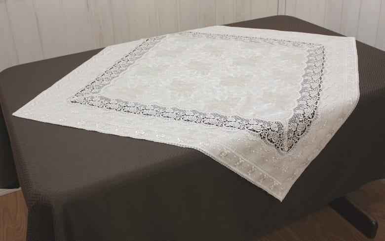 gracieux ローズ柄ジャカード織&ギュピール テーブルクロス 約85×85cm