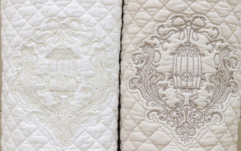romanice 刺繍入りコットンキルト ロングマット 約58×120cm