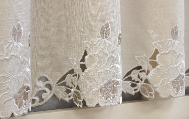 Rose Metopes カットワーク刺繍 カフェカーテン 約130×90cm