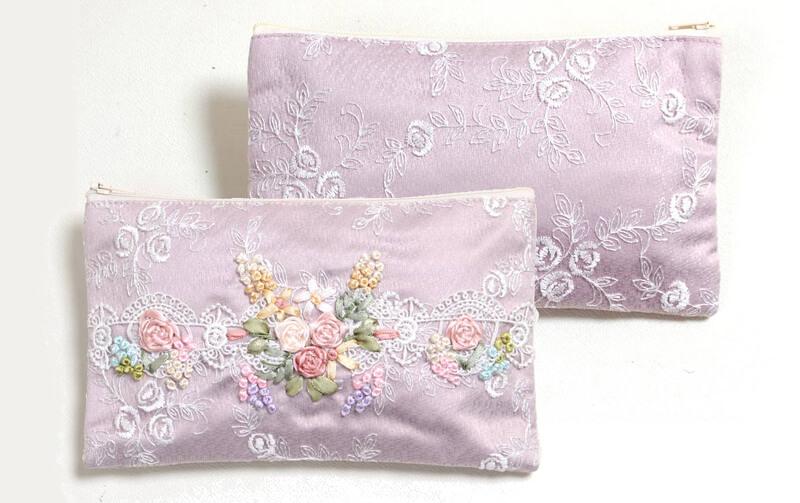 Balcone リボン刺繍 マルチケース 約12×20cm