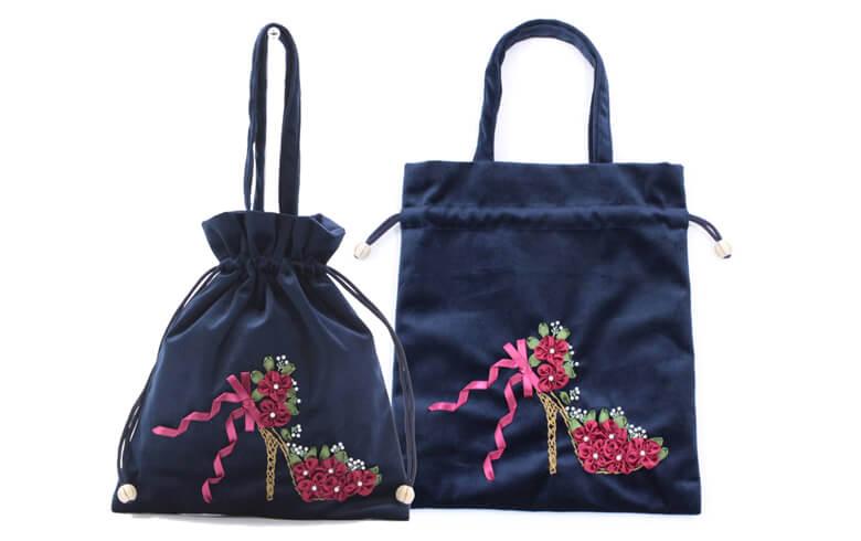 Sheena リボン刺しゅう 巾着バッグ 約25×29cm