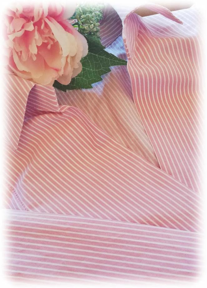 ★きれいめピンクストライプシャツ風ワンピース★別途100ポイントプレゼント★