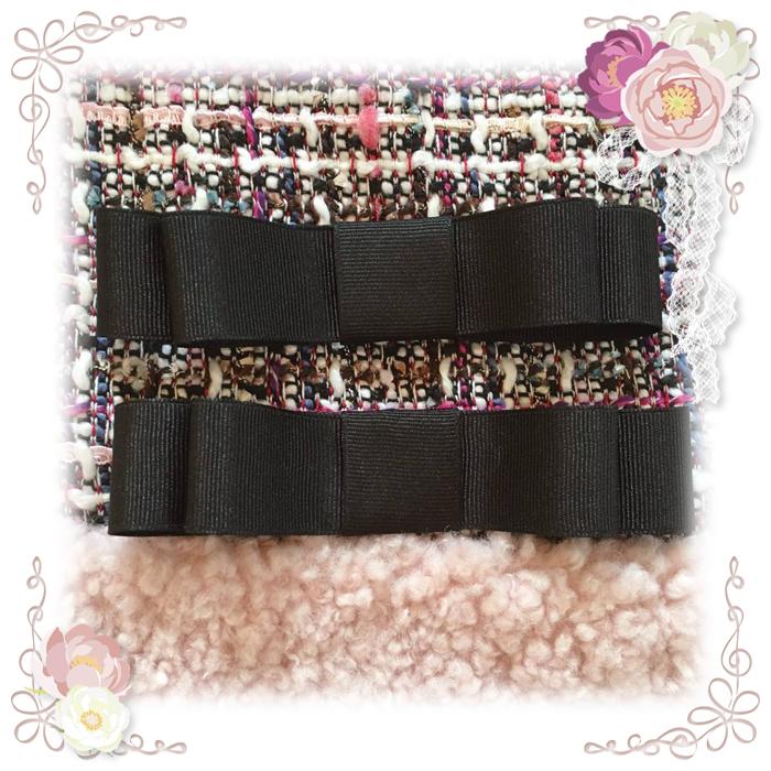 ★エコファーツイード切替ワンピース用リボン★左右にそれぞれブラックのグログランリボンが付きます。