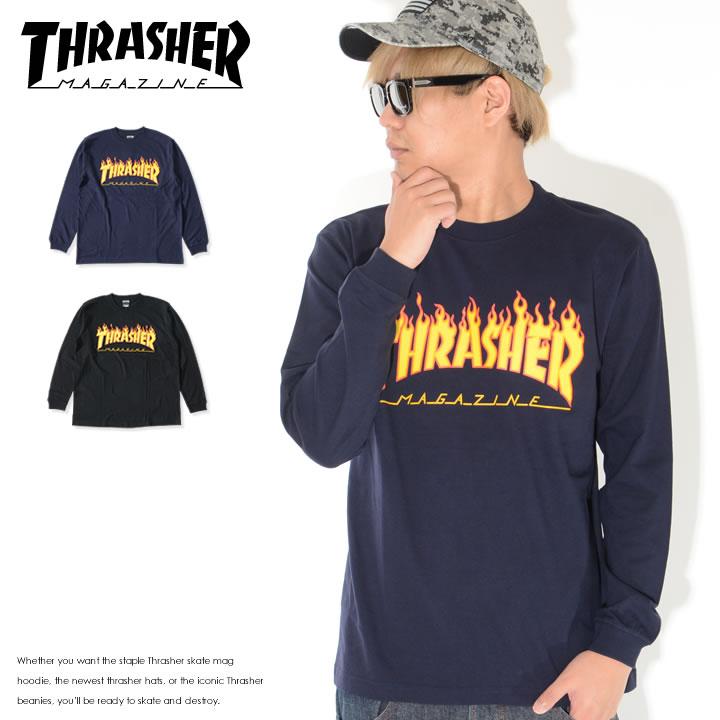 THRASHER スラッシャー ロンT ロングTシャツ 長袖 フレイムMAGロゴ アウトライン (TH93130)
