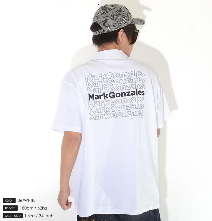 【セール】MARK GONZALES マークゴンザレス ポロシャツ 半袖 胸ミニエンジェル バック7連ネームロゴ (2G7-0356)