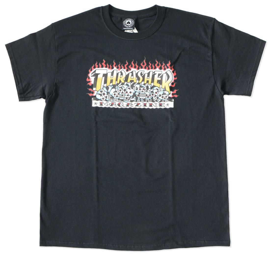 THRASHER スラッシャー Tシャツ 半袖 スカルファイヤー イラスト (311528)