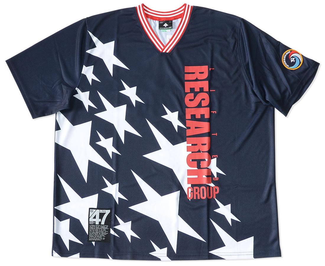 【セール】LRG エルアールジー Tシャツ 半袖 Vネック リブライン ジャージ 縦ロゴ スラントスター (E191015)
