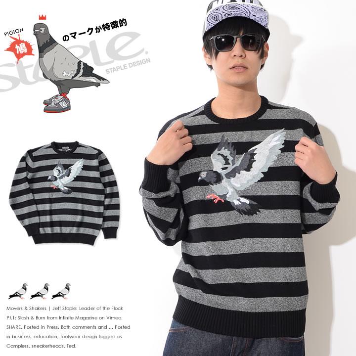 【セール】STAPLE ステイプル ニット クルーネック ボーダー フライングピジョン刺繍 (1710S4095)