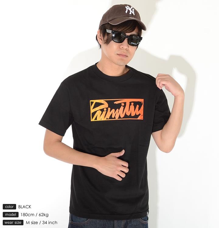 【セール】【アウトレット】PRIMITIVE プリミティブ Tシャツ 半袖 センターボックスロゴ グラデーションカラー *