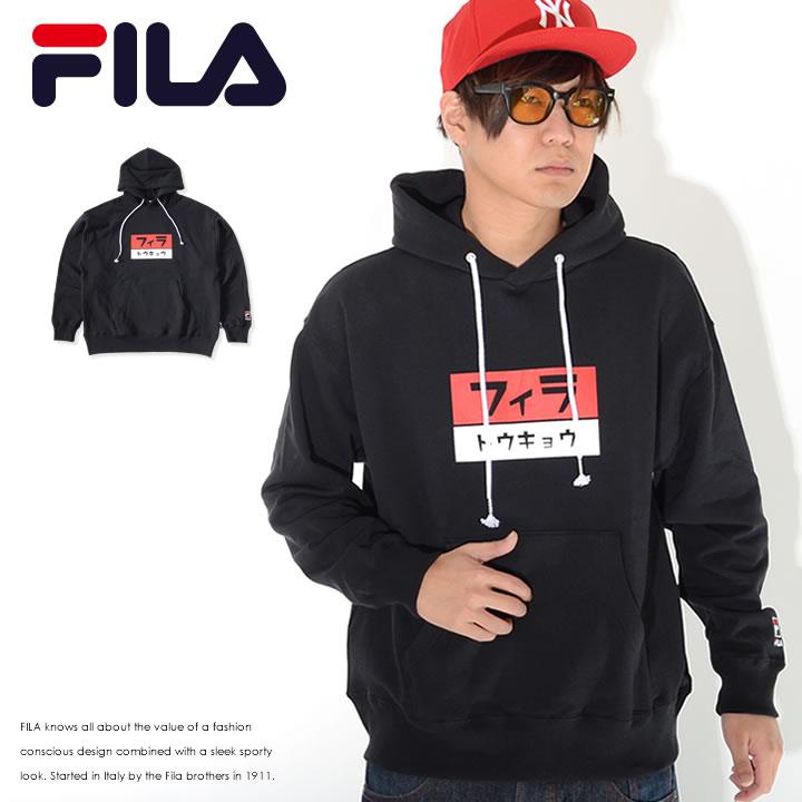FILA フィラ スウェットパーカー ボックスプリント カタカナロゴ トウキョウ (FM9839)