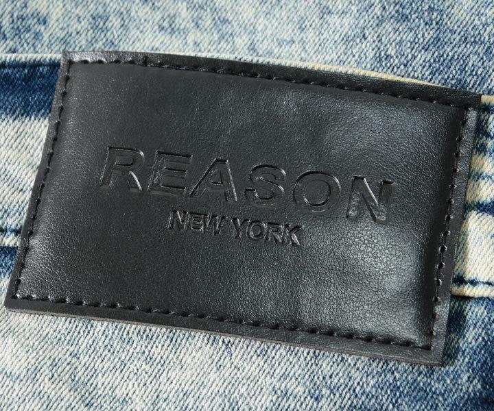 【セール】REASON リーズン デニムパンツ バイカーステッチ ブリーチ加工 イエローライン (U1-401)
