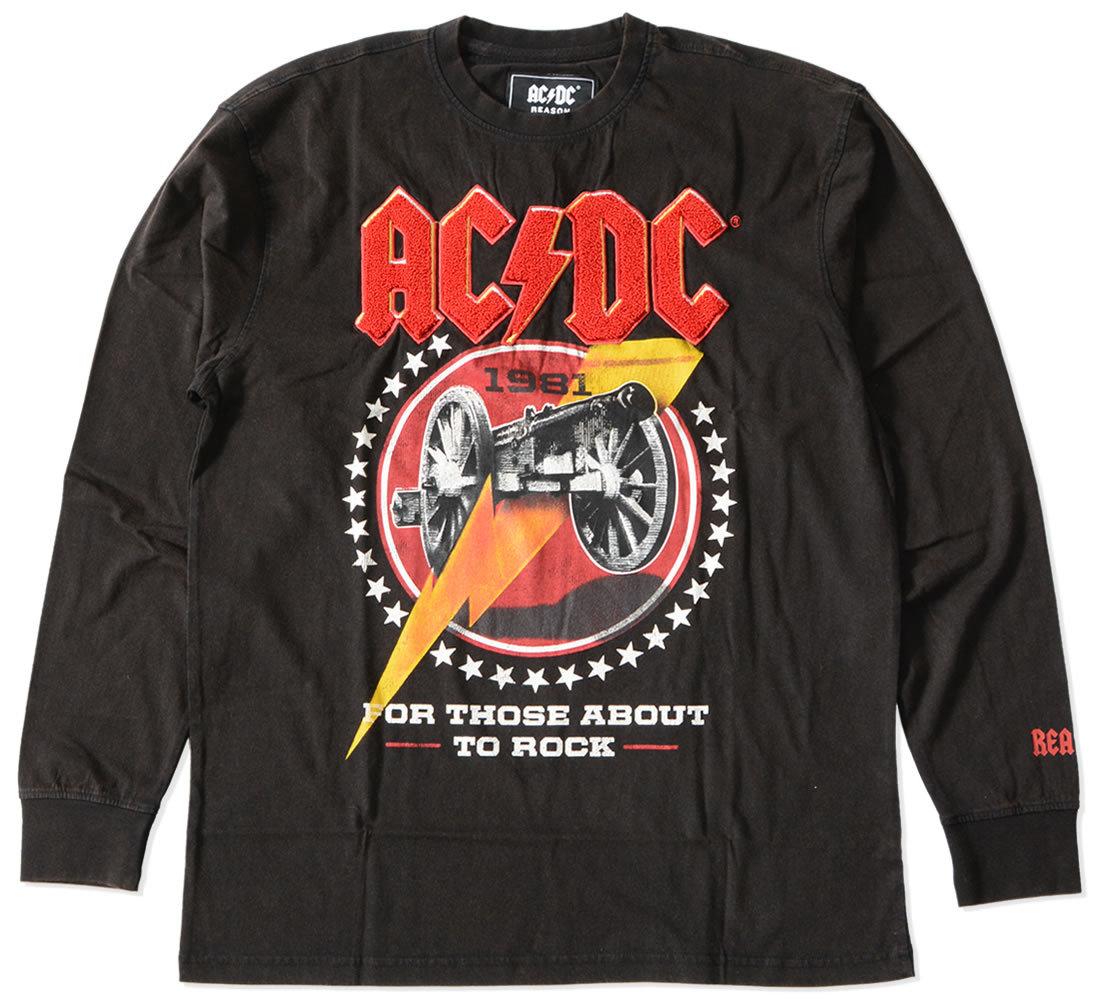 【セール】REASON リーズン ロンT 長袖 AC/DC コラボ サガラ刺繍 (C0-103B)
