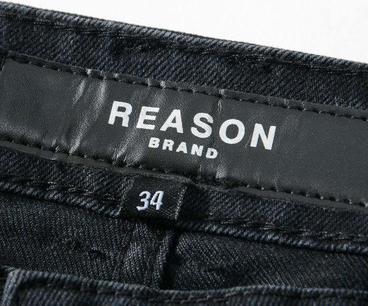 【セール】REASON リーズン デニムパンツ ウォッシュ加工 ファイヤースカル ラウンドジッパー (A1-002)