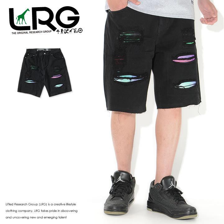 LRG エルアールジー ショートパンツ ダメージ チェック柄リペア TRUE STRAIGHT (L0RCMBSXX)