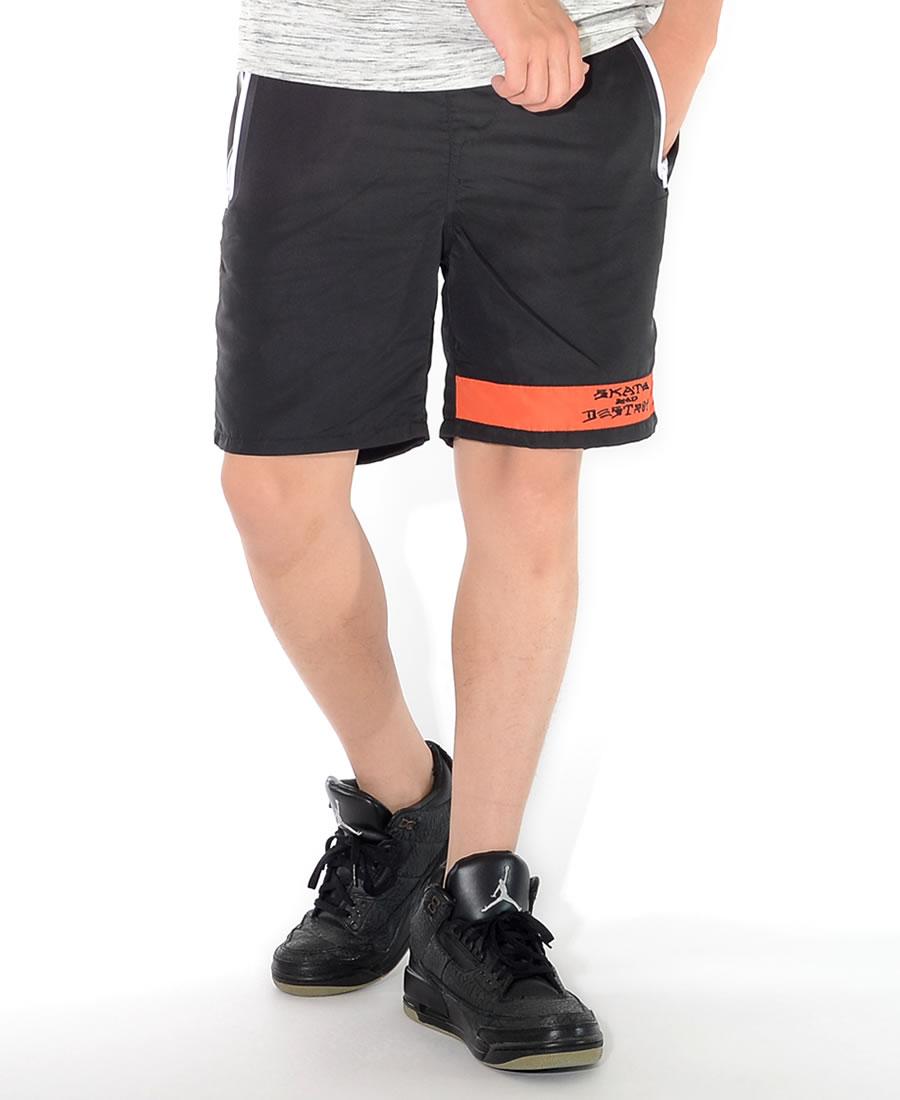 【セール】THRASHER スラッシャー ショートパンツ ハーフパンツ 左裾ライン SKATE AND DESTROYロゴ刺繍 *(TH6037)