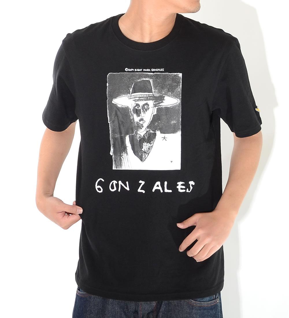 MARK GONZALES マークゴンザレス Tシャツ 半袖 ボックスイラスト ハットマン 手書きネームロゴ (2G7-0303)