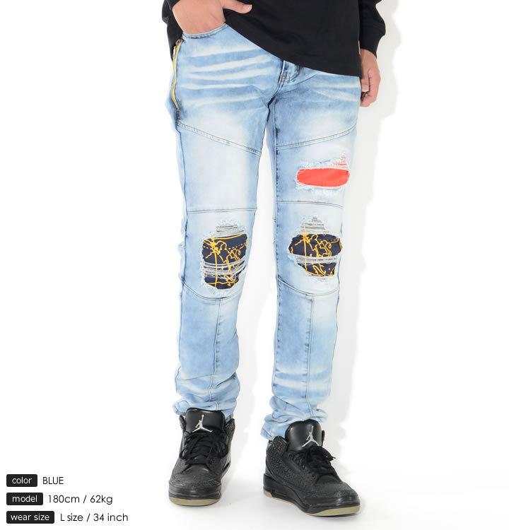 【セール】REASON リーズン デニムパンツ ストライプ柄ポケット 切り替えステッチ ダメージ加工 (U1-422)