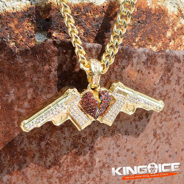 KING ICE キングアイス ネックレス ゴールドチェーン NLE Choppa コラボ ダブルガンハート (NKX14277)