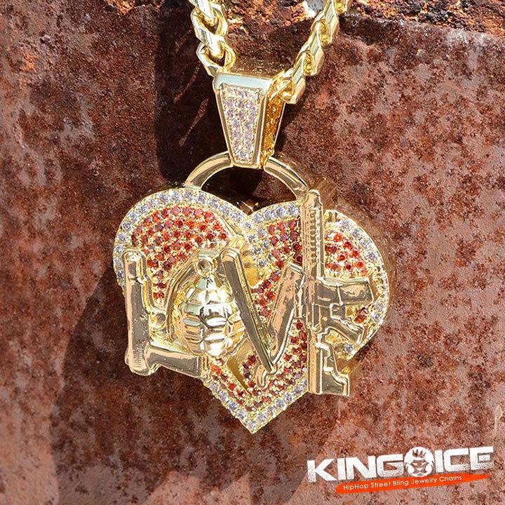 KING ICE キングアイス ネックレス ゴールドチェーン NLE Choppa コラボ ハートLOVE (NKX14279-GOLD)