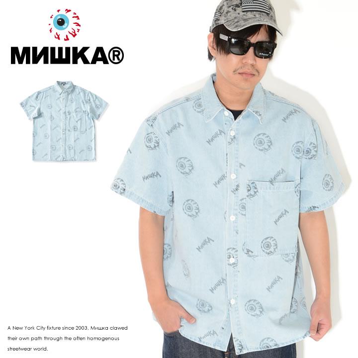 MISHKA ミシカ 半袖シャツ デニム 総柄デザイン キープウォッチ (M21000213)