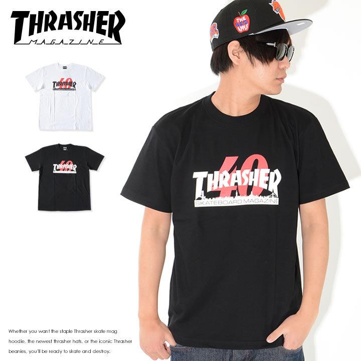 THRASHER スラッシャー Tシャツ 半袖 40TH Anniversary MAGロゴ シティーシルエット (TH91297)