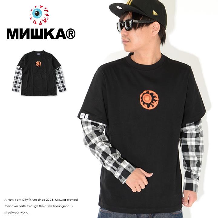 MISHKA ミシカ ロンT 長袖 シャツレイヤード チェック柄 ドットキープウォッチ (M21000068)
