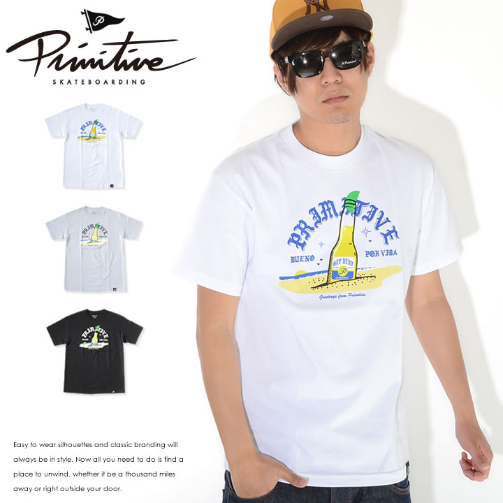 【セール】【アウトレット】PRIMITIVE プリミティブ Tシャツ 半袖 フロントセンター ビーチ ボトルイラスト *