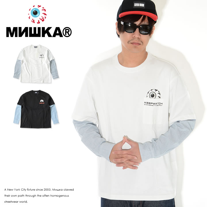 MISHKA ミシカ ロンT 長袖 シャツレイヤード ストライプ柄 ポケットキープウォッチ (M21000061)