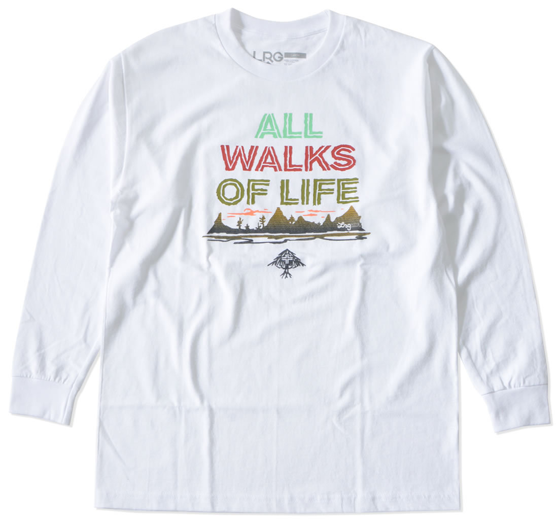 LRG エルアールジー ロンT ロングTシャツ 長袖 ALL WALKS OF LIFE フィールドデザイン (L0FZMLCXX)