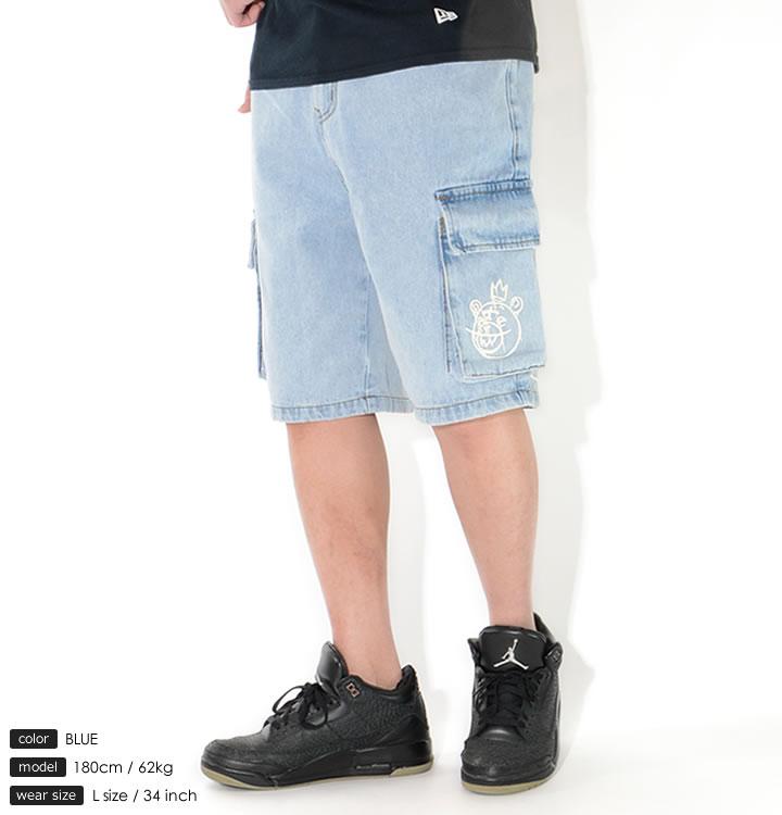 MISHKA ミシカ ショートパンツ デニム カーゴ ドリップロゴプリント (M21000913)