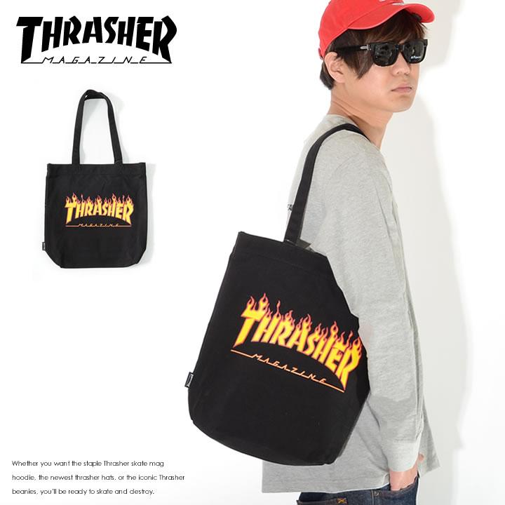【セール】THRASHER スラッシャー トートバッグ カバン キャンバス フレイムMAGロゴ (THC800)