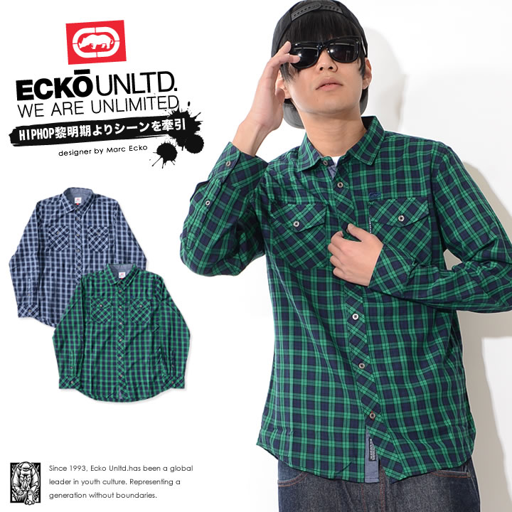 【セール】ECKO UNLTD エコーアンリミテッド 長袖シャツ チェック 胸サイロゴ バックフロッキープリント (IF17-32043)