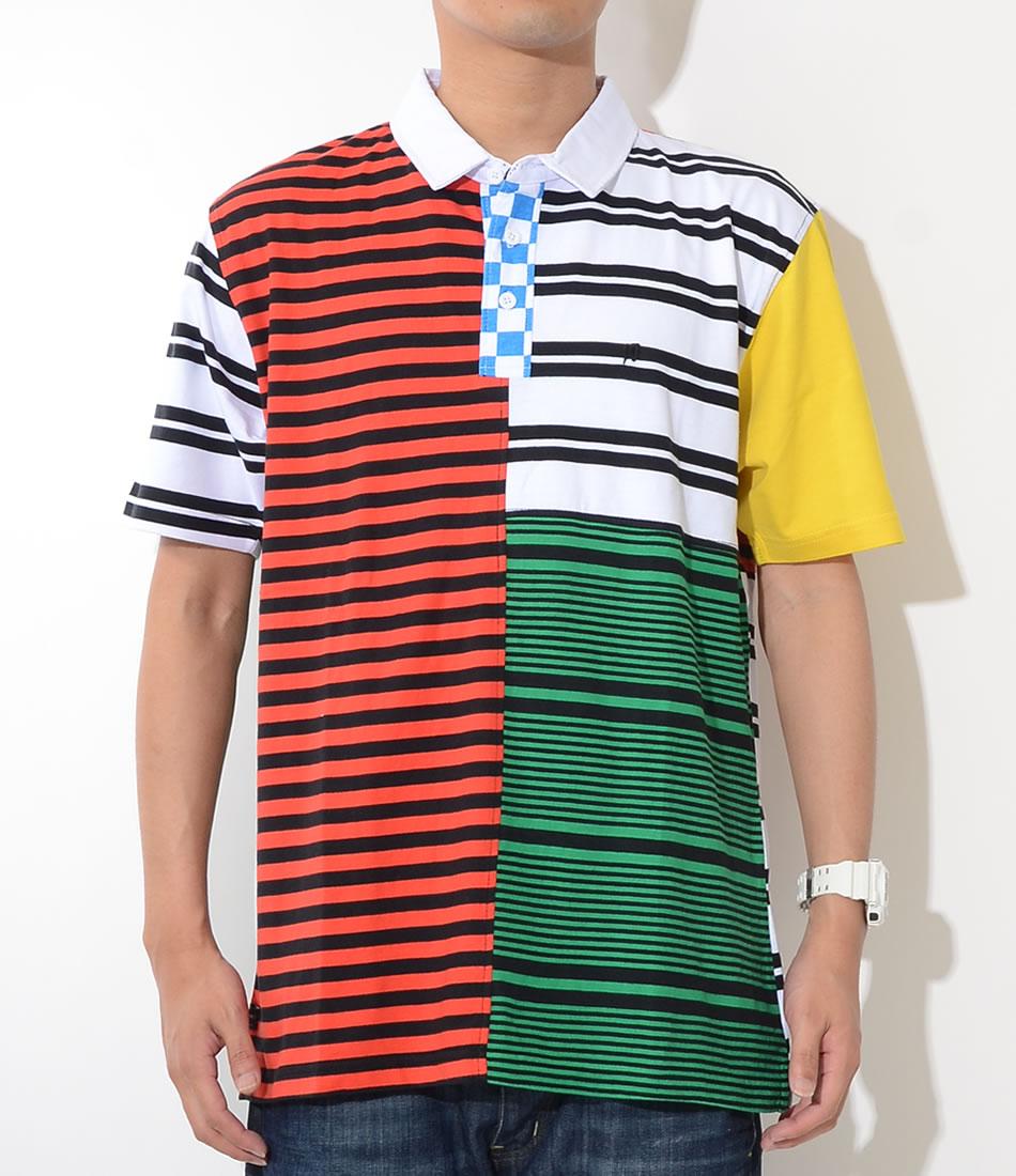 【セール】10DEEP テンディープ ポロシャツ 半袖 切替 ボーダー チェッカー マルチカラー (182TD4203)