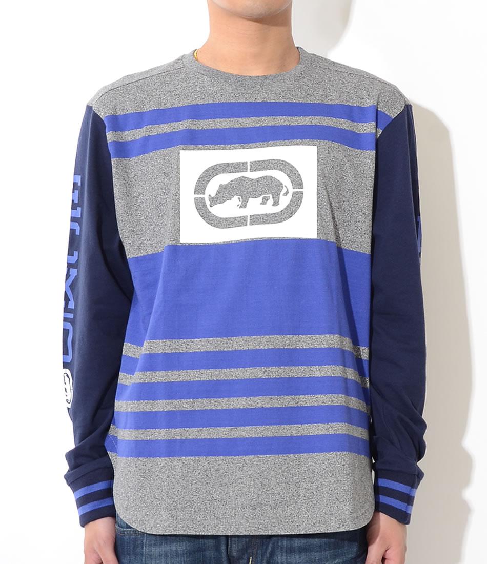 【セール】ECKO UNLTD エコーアンリミテッド ロンT ロングTシャツ 長袖 BOXサイロゴ ブルーライン (ER316-K17)