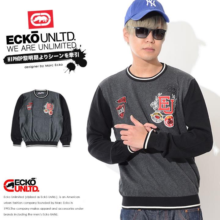 【セール】ECKO UNLTD エコーアンリミテッド ニット クルーネック マルチエンブレム リブライン (IF16-34051)
